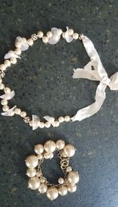 Anthropologie pearl necklace and bracelet